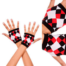 Black Red Diamond Print Harlequin Jester Short Fingerless Costume Wrist Gloves