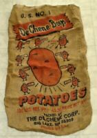Vintage De Chene Boys Graphic Potatoes Burlap Sack / Bag Big Lake, Minnesota A3