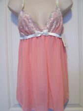 FLORA NIKROOZ Size Small Chiffon Baby Doll with G-String Panty Melon in color