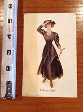 1908 copyright postcard, 1909 stamped Riding Lady post card