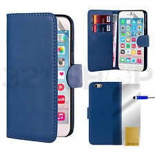 NUEVO FUNDA CARTERA DE PIEL PARA APPLE IPHONE 5 5S 6S 6S Plus Protector Pantalla