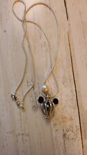 """18"""" silver tone necklace with mouse cage pearl holder and extra pearl"""
