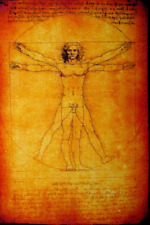 VITRUVIAN MAN - Leonardo Da Vinci - 1452 -1519 - Printed Patch - Sew On