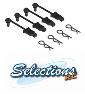 ARRMA AR390165 Body Clips With Rubber Retainer 1/10 Scale Black 4pcs