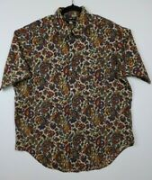 Vintage The Squire Mens Size XL Button Up Short Sleeve Shirt Paisley Colorful
