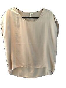 Womens Frenchi Blush Pink Silk Blouse Sz. XS