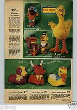 1972 PAPER AD Plush Puppet Sesame Street Big Bird Bert Ernie Anything Muppet