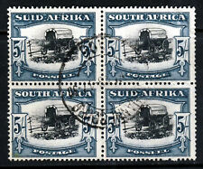 SOUTH AFRICA 1944 5/- Black & Blue-Green Rotogravure Block SG 64b VFU