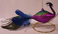Glass Purple Blue Glittered Feather Peacock Christmas Ornament