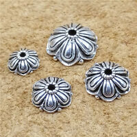 4 Sterling Silver Oxidized Flower Beads Caps 8mm 10mm 12mm 14mm Bracelet Spacers