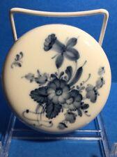 Royal Copenhagen ~ Covered Trinket Bowl ~ White, Blue Flowers ~ Free Shipping!