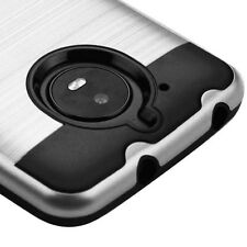 "FOR MOTOROLA MOTO E4 ( 5.0 "") SILVER BLACK BRUSHED IMPACT COVER CASE+S"