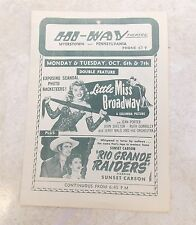 Vintage Antique HI-WAY THEATRE Flyer 1947 Myerstown, PA,  Advertising 7 Movies