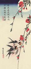 Barn Swallows and Peach Blossoms Hiroshige Woodblock Print