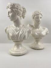 1970's Hermes and Aphrodite Set Bust Sculpture Ancient Greek Roman Mythology