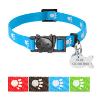 Cute Paw Print Cat Collar Breakaway & Tag Personalised Safety Quick Release&Bell