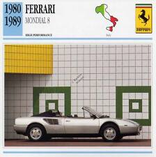 1980-1989 FERRARI MONDIAL 8 Classic Car Photo/Info Maxi Card