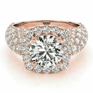 2.20 Carat Solitaire Diamond Engagement Ring 14K Rose Gold Rings Size 5 6.5 7