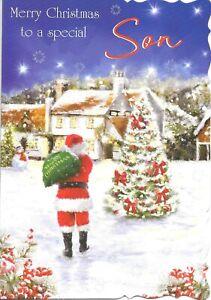 CHRISTMAS CARD TO A SPECIAL SON - VILLAGE, TREE, SNOWMAN, SANTA
