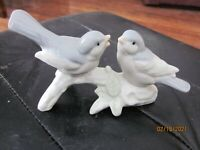 Two Ceramic Birds on a Branch OTAGIRI Greys White