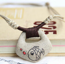 Fashion Necklace Ladies Ceramic Clay Ethnic Girls New Hemp Hippy Funky Plimsolls
