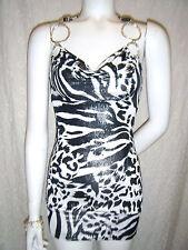 KIWI Women's Black White Animal Print Sleeveless Metallic Top Blouse sz. xSmall