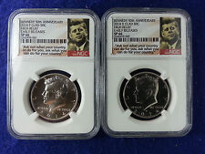 2014 P+D NGC SP66 High Relief Clad Kennedy Early Releases 50th Anniversary *