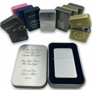 Personalised Engraved Lighter Any Logo Any Text Metal Flip Refillable & Gift Tin