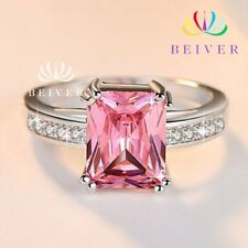 in White Gold Filled Size 7 New Women's Square Cut Pink Cubic Zirconia Ring Set