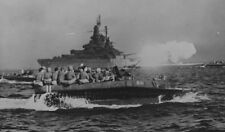 "WWII photo American battleship ""West Virginia"" supports the fire Okinawa war 21o"