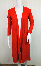 LuLaRoe Sarah Size XS Long Sleeve Open Front Cardigan Duster Red Ribbed