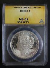 1880 S Morgan Silver Dollar ANACS MS 62 Cameo PL