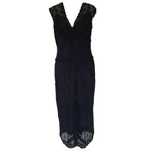 Anthea Crawford Black Lace Cocktail Dress Size 12 Midi V Neck Formal Sleeveless