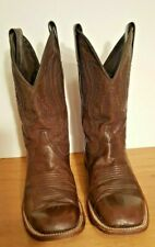 STETSON HANDMADE LEATHER WESTERN MEN'S BROWN COWBOY BOOTS SQ.TOE  SIZE 9 EE