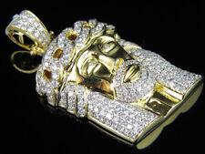 "Diamond Jesus Crown Charm Pendant 3ct 1.5"" 14K Yellow Gold Solid Unisex Vs2 Real"