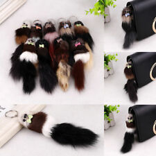 Soft Fox Fur Keychain Key Ring Squirrel Tail Pompon Bag Car Women Access 20*5cm