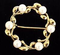 9 carat gold & pearl vintage Victorian antique wreath brooch
