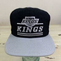 LOS ANGELES KINGS - Vtg 90s STARTER Wool Black & Gray Snapback LA NHL Hat Cap