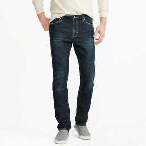 J Crew Men's 100% Genuine Blue Jeans Slim-fit flex jean in Walker wash DM3082