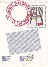 Document philatélique 12-91 1er jour 1991 Journée du timbre Le Tri Postal