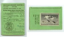 1947-48 Michigan Resident Hunting License with Duck stamp Rw14