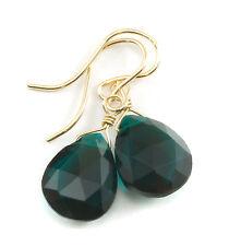 Teal Blue Earrings Sim Tourmaline Hot Dark Green 14k gold filled Teardrops drops