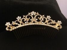 SALE 20% OFF PAVE' CRYSTAL TIARA  COMB GOLD PLATED W/ KEEPSAKE POUCH