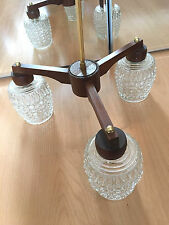 Mid century vintage retro 1960s 1970s teak glass shade ceiling light lamp 3 arm
