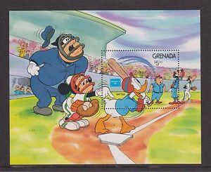 GRENADA MNH STAMP SHEET DISNEY 1986 BASEBALL MICKEY MOUSE, DONALD DUCK AMERIPEX
