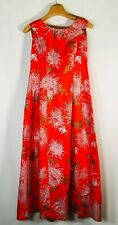 New listing Vtg 50s Alfred Shaheen Mumu Maxi dress Size 12 Red Hand painted Hawaii