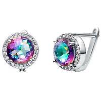 Dazzling Round Fire Rainbow Mystic Topaz Gemstone Silver Hook Stud Earrings Gift