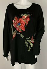 Victor Costa Black Floral Sequined Long Sleeve Top Shirt Size XL