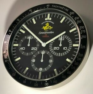 """Omega Speedmaster Moonwatch Wall Clock""""50Th Anniversary Seahorse""""Limited Edition"""
