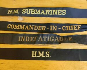 4 Royal Navy Cap Tallies H.M.S. Commander in Chief H.M. Submarines Indefatigable